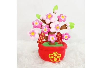 {READY STOCK} Chinese New Year Flower Pot SOFTTOYS/PLUSHTOYS/KIDSTOYS 25-35CM 新年春节橘子桃花娃娃玩具公仔25厘米-35厘米 Patung Beruang