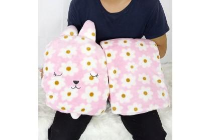 {M'SIA STOCK} 3 in 1 Multipurpose Cartoon Pillow with Blanket/Hand Warmer Cartoon Travel Blanket / Bantal Selimut 梨花兔枕头被娃娃玩具公仔